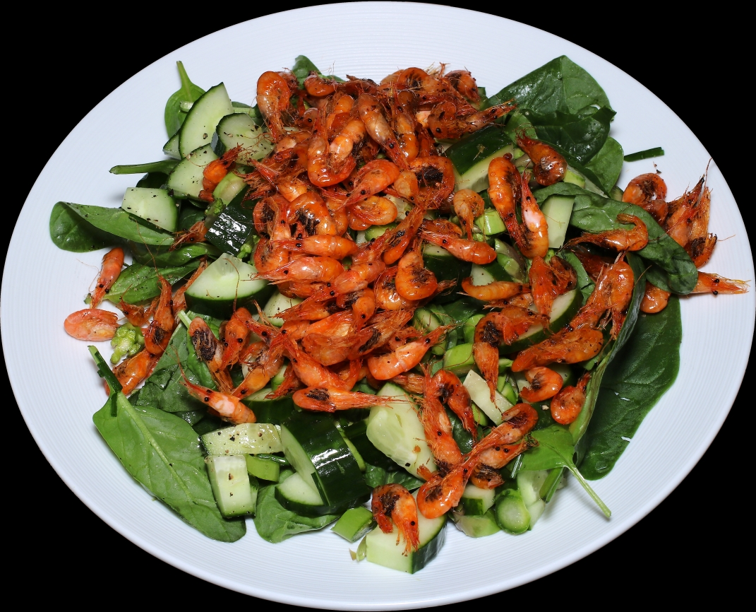 Salad with small roasted Baltic prawns