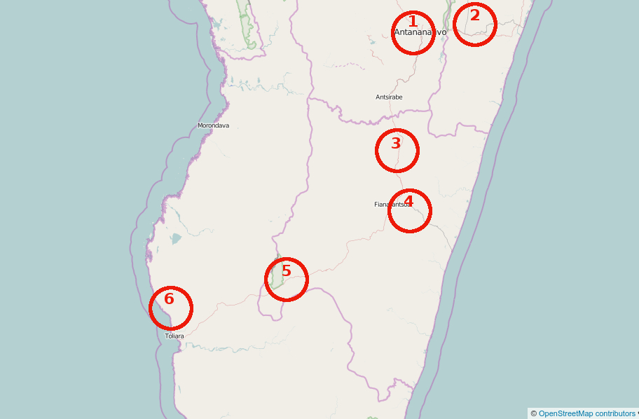 map of trip to madagascar